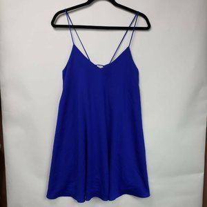 Lulus Womens Mini Slip Dress Blue Lace Up Back